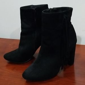Breckelle's black faux sued booties with shingles